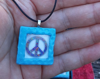 PEACE turquoise handmade Boho square rainbow peace ceramic pendant rustic picture frame handmade jewelry gift