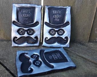 Troy Ohio GOTR TROY 2013 keepsake concert souvenir fridge magnet top hat mustache Gentlemen of the Road  silver black