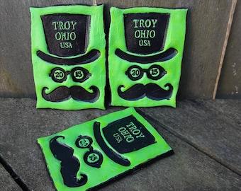 Troy Ohio GOTR TROY 2013 keepsake concert souvenir fridge magnet top hat mustache Gentlemen of the Road green black
