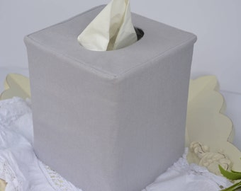 Gray linen tissue box cover