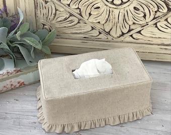Natural Linen Ruffled Rectangle Tissue Box Cover