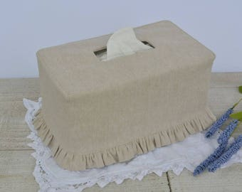 Natural Flax Linen Ruffled Rectangle Tissue Box Cover