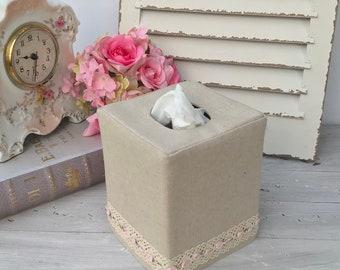 Natural linen lace trim rose design tissue box cover