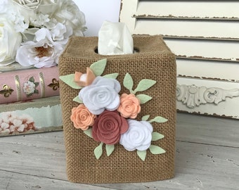 Felt flower bouquet burlap tissue box cover