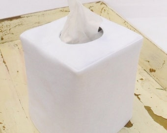 White linen reversible tissue box cover