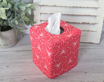 Pink geometric reversible tissue box cover