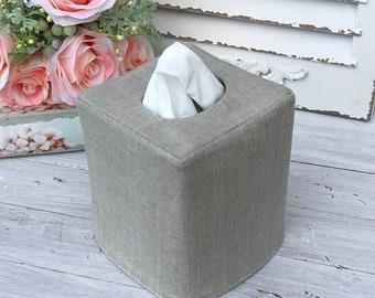 European oatmeal linen reversible tissue box cover