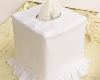 White Linen ruffled tissue box cover