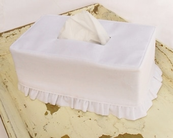 White Linen Ruffle Rectangle Tissue Box Cover