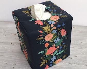 English garden flower vine navy reversible tissue box cover