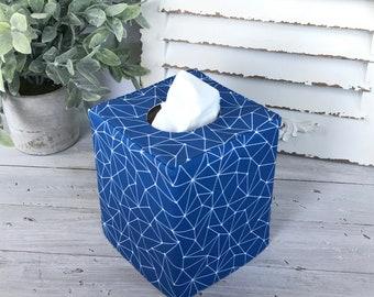 Blue geometric reversible tissue box cover