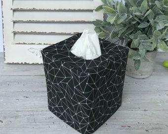 Black geometric reversible tissue box cover