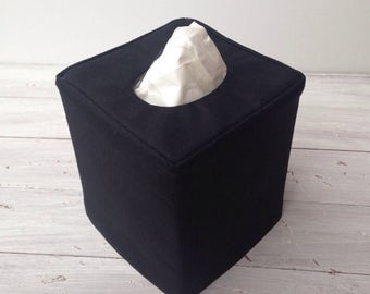 Black Linen reversible tissue box cover