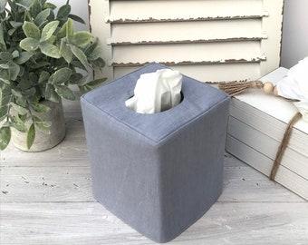 Blue-Gray linen tissue box cover