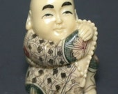 Vintage Japanese Netsuke - Buddhist Boy Sits With Prayer Beads (composite)