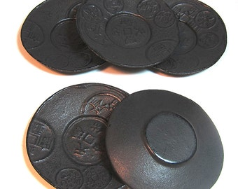 A Set of 5 Japanese Iron Ancient Coin Design Saucers/Coasters/Plates