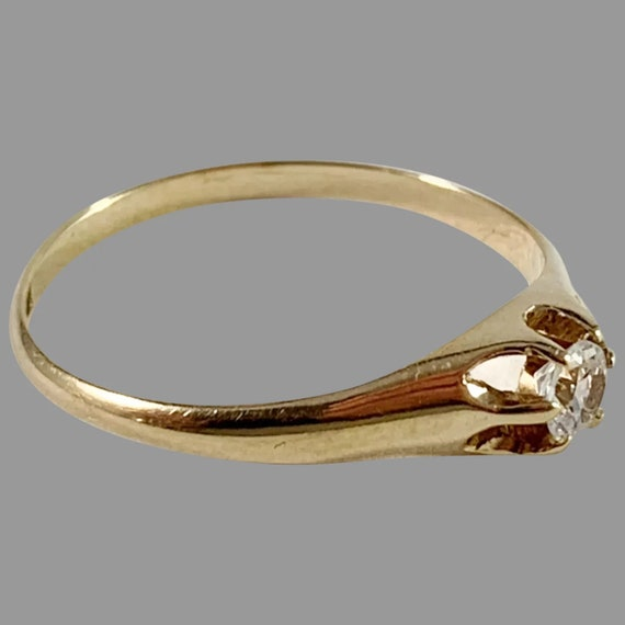 Antique European 18K Solid Gold  Diamond Ring ,Siz