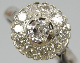 Beautiful 18K White Gold & Diamond Ring,0.60 Carats,Size 6 1/2 #642