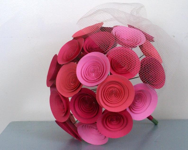Pink Paper Flower Bridal Bouquet Large Wedding Bouquet In Pinks Hot Pink Bubblegum Bright Pink