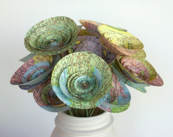 Paper Map Flowers made from a Vintage Atlas, Medium-Size Flowers, Gift for Travelers, Wanderlust Gift