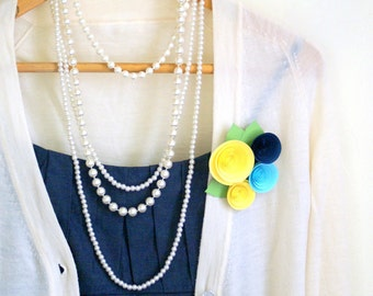 Wedding Corsage - Corsage Paper Flower Pin in Lemon, Aqua, and Sapphire