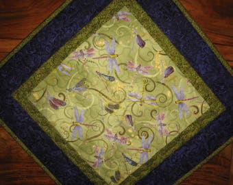 """Dragonfly Purple Green Table Topper, Quilted, 100% Cotton Fabrics 19 x 19"""" Handmade"""