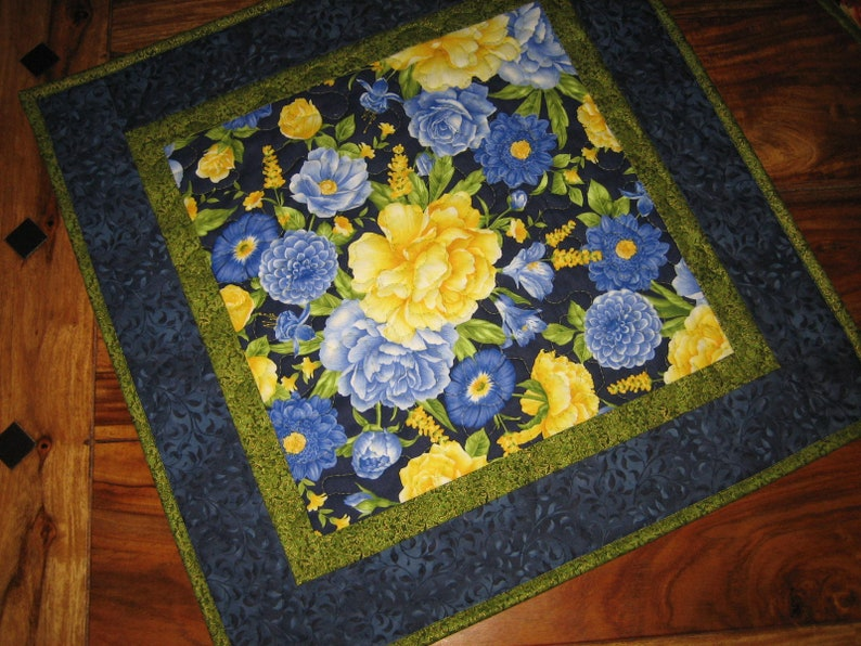 Blue Yellow Roses Quilted Table Topper 21x21 Reversible Etsy