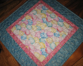 """Easter Egg Table Topper, Easter Table Runner, Blue Pink Yellow Pastel Eggs, Quilted Square Table Mat 19x19"""" Cotton Reversible Handmade"""