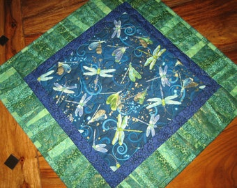 """Dragonfly Blue Green Table Topper, Quilted, 100% Cotton Fabrics 19 x 19"""" Handmade"""