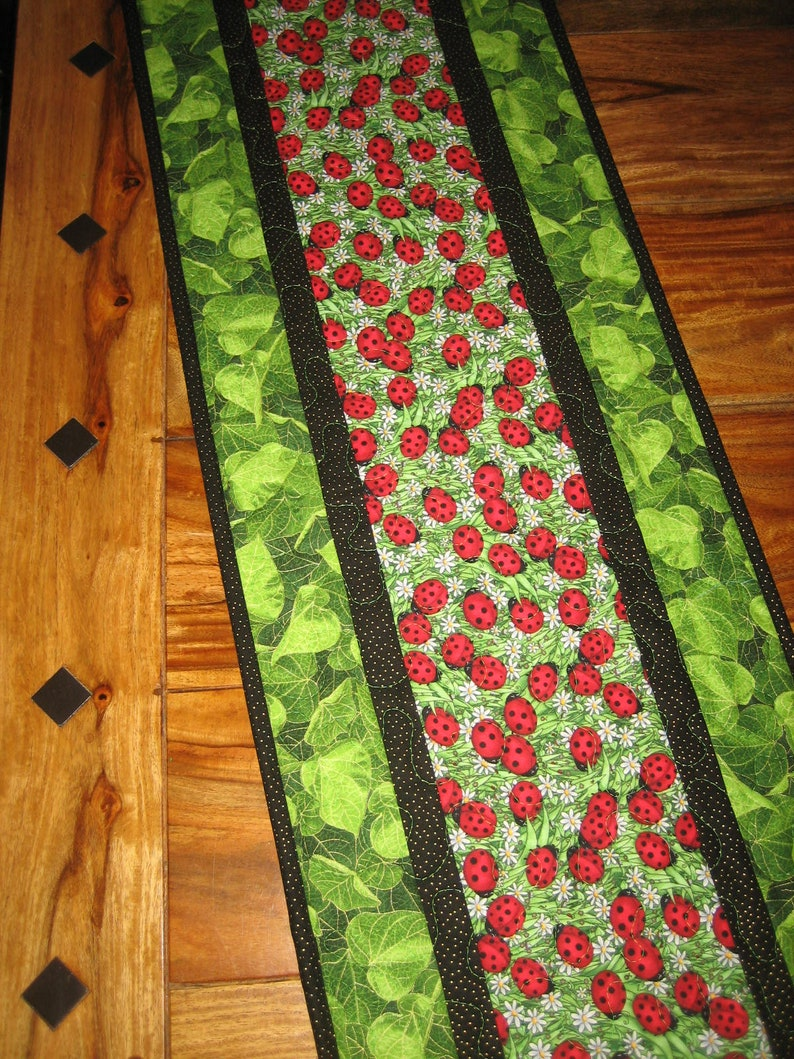 Terrific Ladybug Quilted Table Runner Reversible Cotton Fall Table Decor 13 X 47 Coffee Dining Buffet Table Piano Bench Handmade Tahoequilts Machost Co Dining Chair Design Ideas Machostcouk