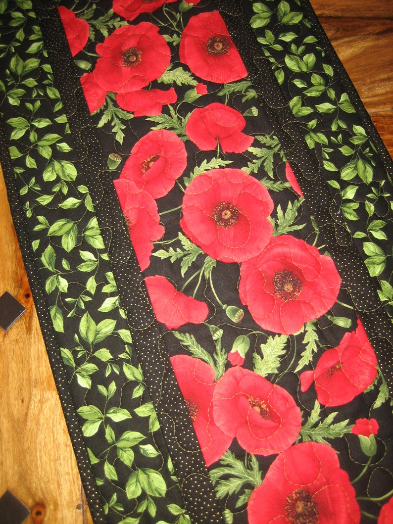 14 x 48 Reversible Large Red Flowers Red Poppies Quilted Table Runner Handmade TahoeQuilts Coffee Dining Table Summer Table Decor