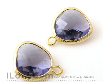 SALE 20% off // 10pcs of P1750 Gold plated, Tanzanite, Glass fancy rosecut 12.5mm, Glass pendant, Framed glass