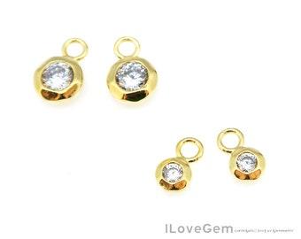 925 Argent Sterling or rose superposition Chocolat Zircone Cubique Boucles D/'oreilles Clou