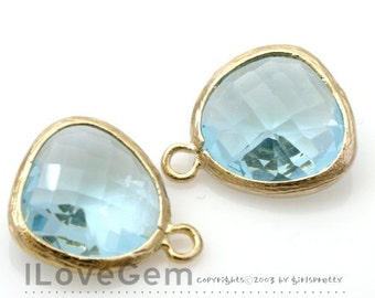 SALE 20% off // 10pcs of P1750 Gold plated, Aquamarine, Glass fancy rosecut 12.5mm, Glass pendant, Framed glass