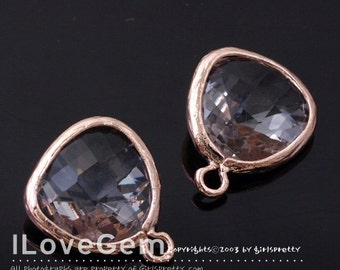 SALE 20% off // 10pcs of P1750 Rose Gold plated, Clear, Glass fancy rosecut 12.5mm, Glass pendant, Framed glass
