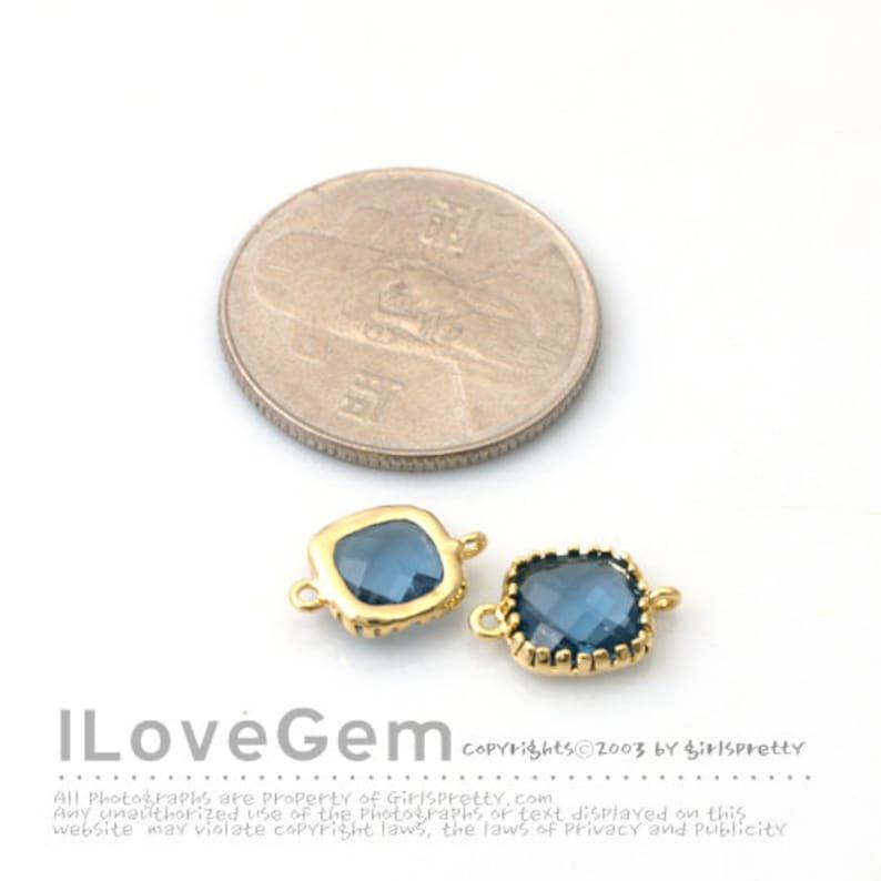 SALE 10pcs P106 Gold Sapphire Blue Glass Framed Glass connector 9mm Glass Square September Glass Birth stone Glass Pendant Montana