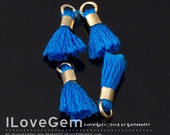 4pcs, TA-043-PE-L Petite Tassel,  #995 Cobalt Blue, Cotton Tassels with Gold Jumpring, 12mm, Mini Tassel Pendant, Tassel Charm