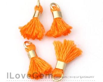 4pcs, TA-043-PE-L Petite Tassel, #970 Neon Orange, Cotton Tassels with Gold Jumpring, 12mm, Mini Tassel Pendant, Tassel Charm