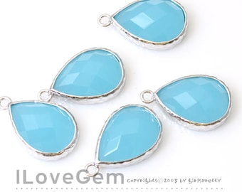 NP-1899 Rhodium, Sky Blue, Framed Glass Pendant, Faceted Glass Drop Charm, 2pcs