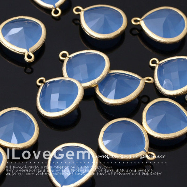 Matt Gold plated 2pcs Glass fancy drop 15.5mm P2565 L-size Ice Blue