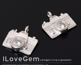 Pewter, Matt Rhodium plated, Camera charm, 4pcs