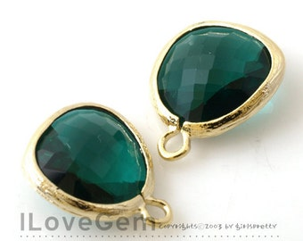 2pcs, P1750, Gold plated, Emerald Green, Glass 12.5mm, Glass pendant, Framed Glass, May Emerald Glass Birth stone