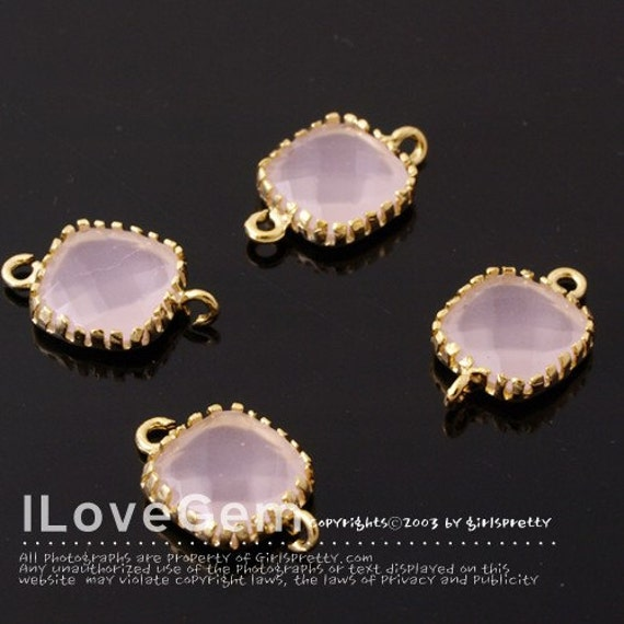 SALE/ 10pcs// P106 Gold plated, Ice Pink, 9mm Glass Square, Framed Glass  connector