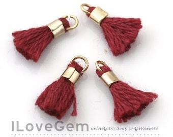 4pcs, TA-043-PE-L Petite Tassel, #498 Dark Red, Cotton Tassels with Gold Jumpring, 12mm, Mini Tassel Pendant, Tassel Charm