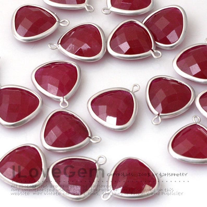 Ruby Color Gemstone Pendant Drop Jade 2pcs B105 Matt Rhodium plated over Brass