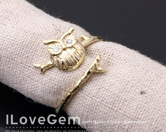 NP-1629 Gold Plated, Owl, Adjustable ring, 1pc