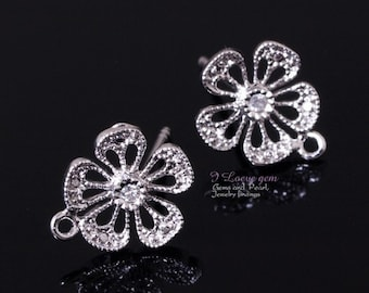 E129 Nickel free Rhodium-plated, Flower earring, 925 sterling silver post, 2pcs