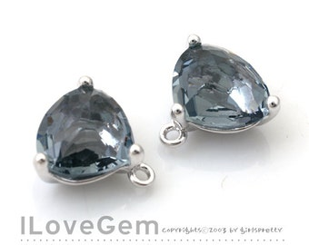 NP-993 Rhodium Plated, Trilliant Cut, Black Diamond, Charcoal, Glass pendant, 2pcs