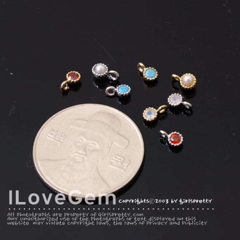 SALE 10pcs NP-1459 3.2mm Cubic Charm January Cubic Birthstone Gold Mini Birth Stone Pendant Garnet Add on Birth stone