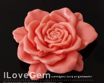 RC143 Resin (Coral) BIG Flower, 50mm, Cabochon, 2pcs